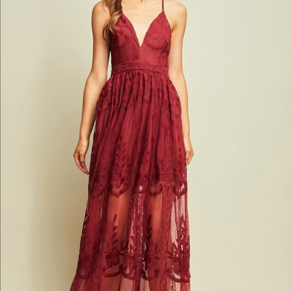 2cfd8c121bf7 Dresses | Gorgeous Burgundy Lace Maxi Dress | Poshmark